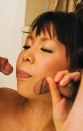 Maki Sakashita Asian gets vibrator in cunt and cum on juicy tits