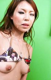 Rui Natsukawa Asian gets cum in mouth from sucking two shlongs