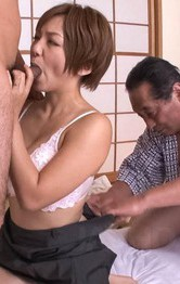 Meguru Kosaka Asian sucks penis and gets it in shaved love box