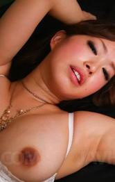 Emiri Senoo Asian shows juicy vagina and licks two hard penises