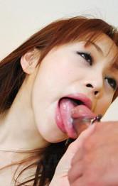 Miina Yoshihara Asian with nude boobies has fish taco licked