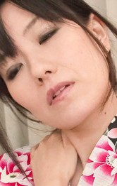 Manami Komukai Asian sucks two shlongs and has boobs caressed