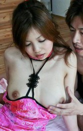 Rika Kurogawa Asian with tits out of dress gets dick and sex toys