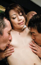Maki Hojo Asian has three boners fucking her mouth and fish taco