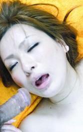 Yukina Momose Asian rides tool with hairy vagina while sucks dick