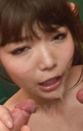 Megumi Shino Asian gets cum in mouth after sucking joysticks