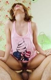 Junna Hara rubs dicks with big tits, sucks and fucks them so fine