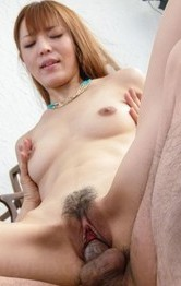 Saori Asian has nipples pinched and crack in doggy during blowjob