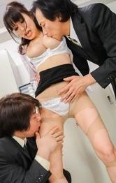 Miina Kanno Asian rubs tools of her big jugs and is deeply fucked