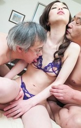Misaki Yoshimura has twat full of cum after is nailed by dicks