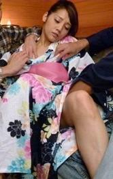 Rei Mizuna gets so much cum in mouth after is fucked under kimono