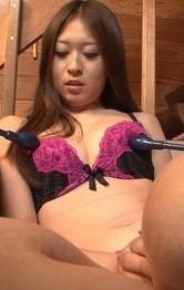 Marin Koyanagi has hairy nooky aroused and licks two shlongs