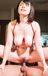 Koyomi Yukihira busty rubs dick with boobs and has asshole licked