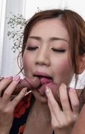 Kaori Maeda licks dongs and has hairy cunt fingered under kimono